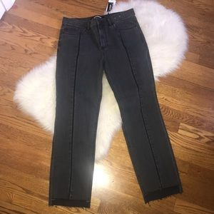 Express straight ankle high rise gray jeans 8 NWT